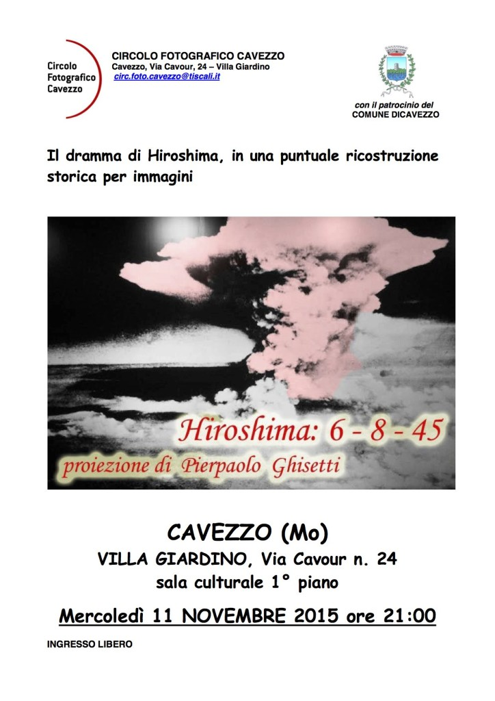 Proiezione Ghisetti - Hiroshima - volantino